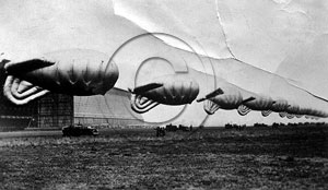 Balloons outside one of the hangers at Cardington